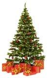 Το δέντρο έλατου Χριστουγέννων και παρουσιάζει το κιβώτιο δώρων πέρα από το άσπρο υπόβαθρο Στοκ εικόνα με δικαίωμα ελεύθερης χρήσης