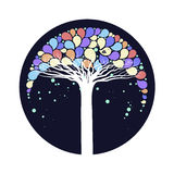 Το δέντρο με τα ζωηρόχρωμα φύλλα Στοκ Εικόνες