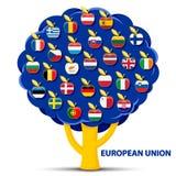Το δέντρο με την ευρωπαϊκή ένωση σημαιοστολίζει τα μήλα Στοκ Εικόνες