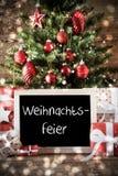 Το δέντρο με Weihnachtsfeier σημαίνει τη γιορτή Χριστουγέννων Στοκ φωτογραφία με δικαίωμα ελεύθερης χρήσης