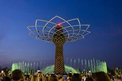 Το δέντρο της ζωής παρουσιάζει σε EXPO το 2015 στο Μιλάνο Στοκ φωτογραφία με δικαίωμα ελεύθερης χρήσης