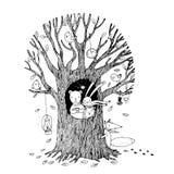 Το δέντρο φθινοπώρου, αντέχει, λαγοί, σκαντζόχοιρος, αλεπού και πουλιά Στοκ Φωτογραφίες