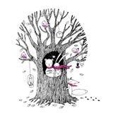 Το δέντρο φθινοπώρου, αντέχει, λαγοί, σκαντζόχοιρος, αλεπού και πουλιά Στοκ Εικόνα