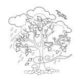 Το δέντρο φθινοπώρου, τα πουλιά πέταξε μακριά, εποχιακά σημάδια του φθινοπώρου Στοκ Φωτογραφίες