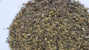 Το έξοχο μίγμα σπόρου αλεμένος ο λιναρόσπορος, hempseed και ο σπόρος chia απόθεμα βίντεο