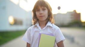 Το έξυπνο αγόρι κρατά ένα σημειωματάριο Είναι έτοιμος πίσω στο σχολείο Πορτρέτο του μαθητή απόθεμα βίντεο