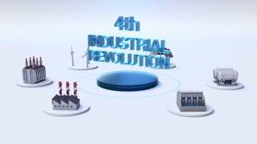 Το έξυπνο εργοστάσιο, ηλιακό πλαίσιο, γεννήτρια αέρα, υδροηλεκτρισμός συνδέει IoT ` 4η ΒΙΟΜΗΧΑΝΙΚΉ ΕΠΑΝΆΣΤΑΣΗ ` ελεύθερη απεικόνιση δικαιώματος
