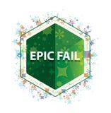 Το έπος αποτυγχάνει το floral πράσινο hexagon κουμπί σχεδίων εγκαταστάσεων στοκ εικόνα με δικαίωμα ελεύθερης χρήσης