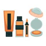 Το δέρμα προσώπου αποτελεί τα καλλυντικά εργαλεία τη ζωηρόχρωμη αφίσα ελεύθερη απεικόνιση δικαιώματος