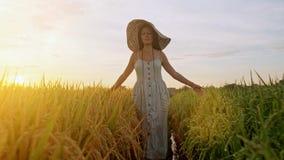 Το έφηβη απολαμβάνει με τον ήλιο στην πυράκτωση βραδιού Κορίτσι ομορφιάς που απολαμβάνει υπαίθρια τη φύση Όμορφο εφηβικό πρότυπο  απόθεμα βίντεο