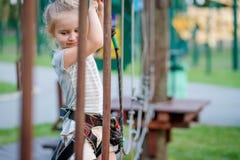 Το έφηβη πηγαίνει στο αρθρωμένο ίχνος στο πάρκο σχοινιών στοκ φωτογραφία με δικαίωμα ελεύθερης χρήσης