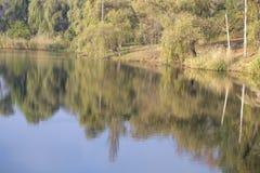 Το ήρεμο νερό λιμνών απεικονίζει τα δέντρα ουρανού, ιτιών και σημύδων Στοκ φωτογραφία με δικαίωμα ελεύθερης χρήσης