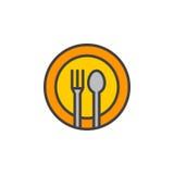 Το δίκρανο, κουτάλι, εικονίδιο γραμμών πιάτων, γέμισε το διανυσματικό σημάδι περιλήψεων, γραμμικό ζωηρόχρωμο εικονόγραμμα που απο απεικόνιση αποθεμάτων