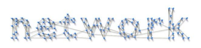 Το δίκτυο λέξης με τις καρφίτσες Στοκ Εικόνες