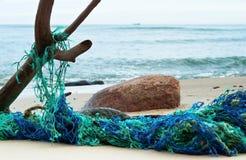 Το δίκτυο για τα ψάρια έμπλεξε το δίκτυο καθαρής, αλιείας βραγχίων Στοκ Εικόνες