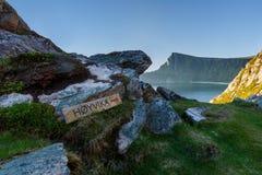 Το ίχνος στην παραλία Hoyvika, Νορβηγία Στοκ Εικόνες