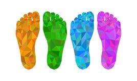 Το ίχνος τέσσερα που αφήνονται και κατώτατη άποψη δεξιών ποδιών το χαμηλό πολυ πολύγωνο Στοκ εικόνα με δικαίωμα ελεύθερης χρήσης