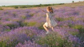 Το αίσθημα του χαμόγελου μικρών κοριτσιών ευτυχίας φεύγει χαρούμενα να πηδήσει υπαίθρια όμορφος lavender τοπίων τομέας απόθεμα βίντεο