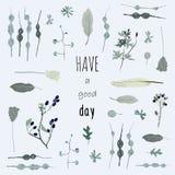 το αγαθό ημέρας έχει Μπλε ντεκόρ λουλουδιών Στοκ εικόνα με δικαίωμα ελεύθερης χρήσης