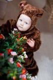 Το αγοράκι έντυσε ως αρκούδα Στοκ Φωτογραφία