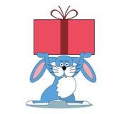Το λαγουδάκι έφερε ένα κιβώτιο με το δώρο Στοκ Εικόνα