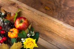 Το αγροτικό υπόβαθρο πτώσης με το μήλο, κολοκύθα, κίτρινη αυξήθηκε, αντίγραφο SP Στοκ φωτογραφία με δικαίωμα ελεύθερης χρήσης