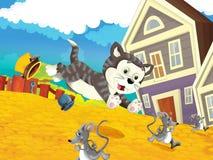 Το αγρόκτημα - σκηνή κυνηγιού - γάτα που κυνηγά τα ποντίκια Στοκ Εικόνες