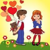 Το αγόρι δίνει στο κορίτσι ένα δώρο Σε μια κίτρινη ανασκόπηση Διανυσματικό IL Στοκ Φωτογραφία