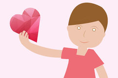 Το αγόρι δίνει την ημέρα του βαλεντίνου καρδιών ελεύθερη απεικόνιση δικαιώματος