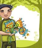 το αγόρι ανθίζει τις νεο&lamb απεικόνιση αποθεμάτων