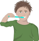 Το αγόρι βουρτσίζει τα δόντια του ελεύθερη απεικόνιση δικαιώματος