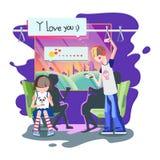 Το αγόρι γράφει ένα μήνυμα στην ομολογία αγάπης smartphone Στοκ φωτογραφίες με δικαίωμα ελεύθερης χρήσης