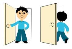 Το αγόρι εισάγει μια πόρτα διανυσματική απεικόνιση