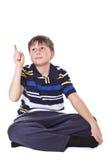 Το αγόρι εμφανίζει δάχτυλό του Στοκ Φωτογραφίες