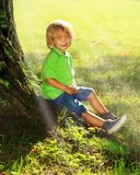 Το αγόρι κάθεται κοντά στο δέντρο Στοκ Εικόνα