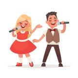 Το αγόρι και ένα κορίτσι τραγουδούν ένα τραγούδι σε ένα μικρόφωνο Παιδιά ` s μουσικά ελεύθερη απεικόνιση δικαιώματος