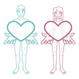 Το αγόρι και το κορίτσι κρατούν τις καρδιές Στοκ φωτογραφία με δικαίωμα ελεύθερης χρήσης