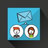 Το αγόρι και το κορίτσι σύρουν τα κοινωνικά μέσα μηνυμάτων ελεύθερη απεικόνιση δικαιώματος