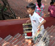 Το αγόρι κρατά το κλουβί πουλιών για την πώληση στο φιλάνθρωπο για να αγοράσει ένα πουλί για να απελευθερώσει στο ναό Phnom στοκ φωτογραφίες