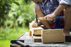 Το αγόρι μαθαίνει στα καρφιά σφυριών Στοκ Φωτογραφίες