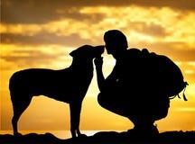 Το αγόρι με ένα σκυλί διανυσματική απεικόνιση