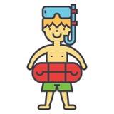Το αγόρι με την κολυμπώντας μάσκα και το δαχτυλίδι στη λίμνη, παιδιά μαθαίνουν να κολυμπούν, έννοια διακοπών παραλιών παιδιών απεικόνιση αποθεμάτων
