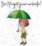 Το αγόρι με την πράσινη ομπρέλα και η φράση φορούν ` τ ξεχνούν την ομπρέλα σας Στοκ εικόνα με δικαίωμα ελεύθερης χρήσης
