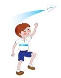 Το αγόρι με το αεροπλάνο εγγράφου διανυσματική απεικόνιση