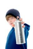 Το αγόρι με το αερόλυμα μπορεί Στοκ φωτογραφία με δικαίωμα ελεύθερης χρήσης