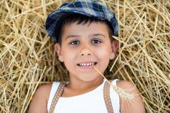 Το αγόρι με spikelet στα δόντια βρίσκεται στο σανό Στοκ εικόνα με δικαίωμα ελεύθερης χρήσης