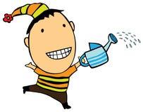 το αγόρι μπορεί ποτίζοντα&sigm απεικόνιση αποθεμάτων