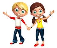 Το αγόρι παιδιών με και το κορίτσι αστείο θέτουν Στοκ Εικόνες