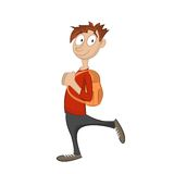 Το αγόρι πηγαίνει με το σακίδιο πλάτης Στοκ εικόνα με δικαίωμα ελεύθερης χρήσης