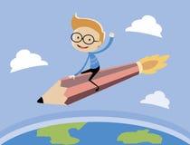 Το αγόρι που οδηγά τον πύραυλο μολυβιών Στοκ φωτογραφία με δικαίωμα ελεύθερης χρήσης